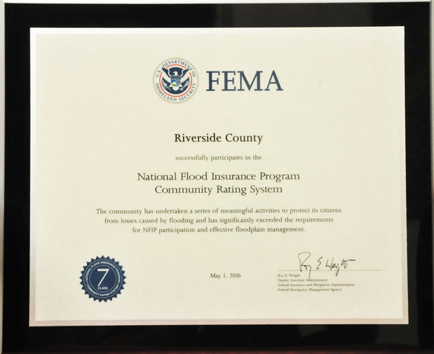 Community Rating System Recognition for Riverside County Participation
