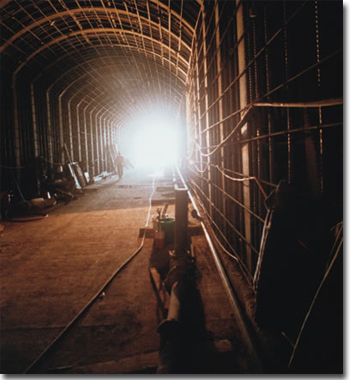 Construction inside the Oak Street Channel culvert under the 91 freeway at Corona