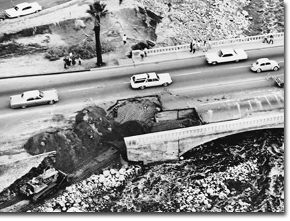 November 1965 flood. Highway 111 in Palm Springs was cut in two places disrupting traffic for several days.