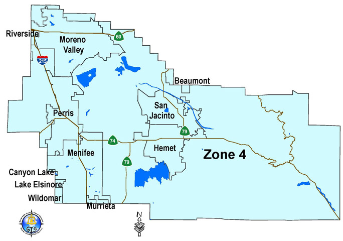 Map of Riverside County Flood Control District Zone 4