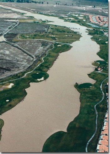Salt Creek Channel was designed for use as a golf course with the capacity to carry a hundred-year flood.