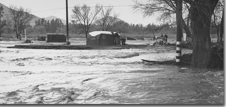 Santa Ana River flooding in March of 1938.